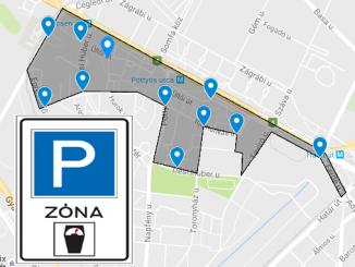 Parkolóóra térkép - József Attila-lakótelep